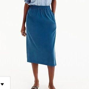 Universal Standard Jcrew Cupro Midi Skirt Blue S
